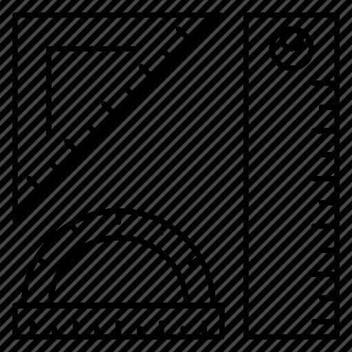 education, geometry, measure, protractor, tools icon