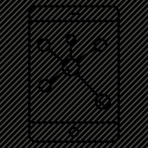 atoms, device, mobile, molecules, phone icon