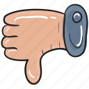 bad feedback, disapproval, dislike, hand gesture, rejection, thumbs down icon