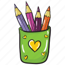 pencil case, pencil container, pencil holder, stationery, writing tools icon