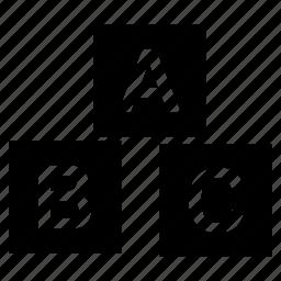 abc, alphabet, block, blocks, cube, cubes icon