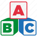 abc, alphabet, blocks, cube, education, learning, reading icon