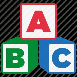 abc, alphabet, blocks, cube, education, learning, reading icon