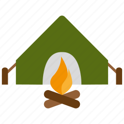 camp, camping, fire, outdoors, tent, travel, vacation icon