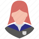 avatar, female, girl, school girl, student, user, woman icon