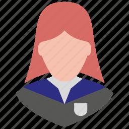 avatar, female, girl, school girl, student, user, woman icon
