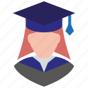 female, girl, graduation, profile, school girl, user, woman icon