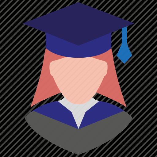 female, girl, graduation, profile, school girl, user, woman icon