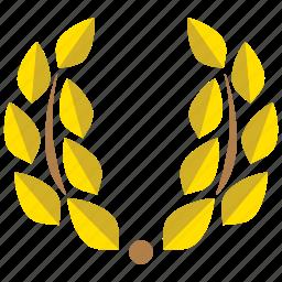 achievement, award, decoration, laurel, laurel wreath, prize, wreath icon