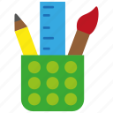 brush, office, pen, pencil, ruler, stationery icon