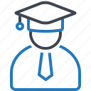 cap, education, graduate, hat, person icon