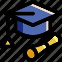 certificate, college, degree, diploma, graduation, hat, toga
