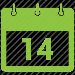 14 february, calendar, date, event, schedule icon