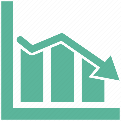bar, chart, diagram, down, graph, growth, statistics icon