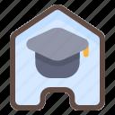 home, graduation, online, school, exam, result icon