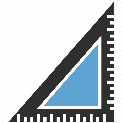 ruler, scale, triangle icon