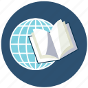 book, global, globe, knowledge, study, world icon