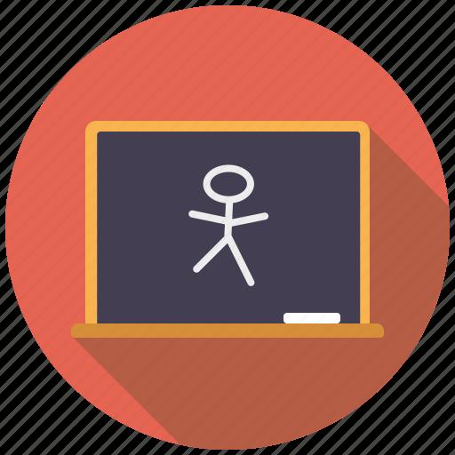 blackboard, chalkboard, class, college, drawing, education, school icon