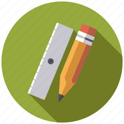 college, drawing, education, pencil, ruler, school, utensil icon