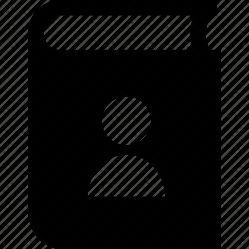 book, cover, user icon