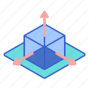 dimension, models, perspective icon