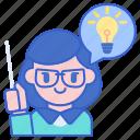 creative, female, idea, teacher icon