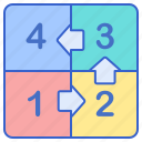 arrow, four, number, square icon