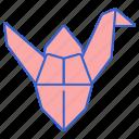 crane, folds, origami, paper
