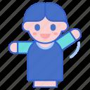 boy, happy, puppet, waveing icon