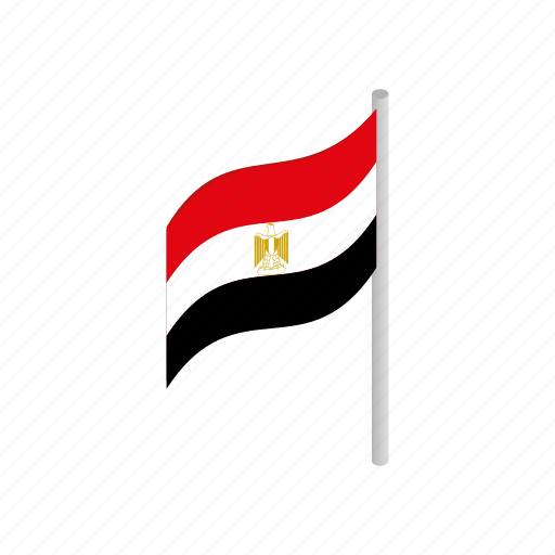 country, egypt, flag, isometric, national, patriotism, wind icon