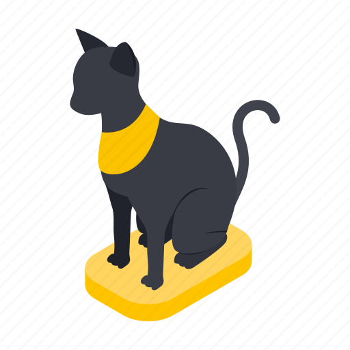 ancient, animal, cat, egypt, isometric, necklace, statue icon