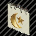 calendar, islamic, eid, mubarak, crescent, star, schedule