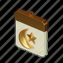 wall, calendar, islamic, eid, mubarak, crescent, star