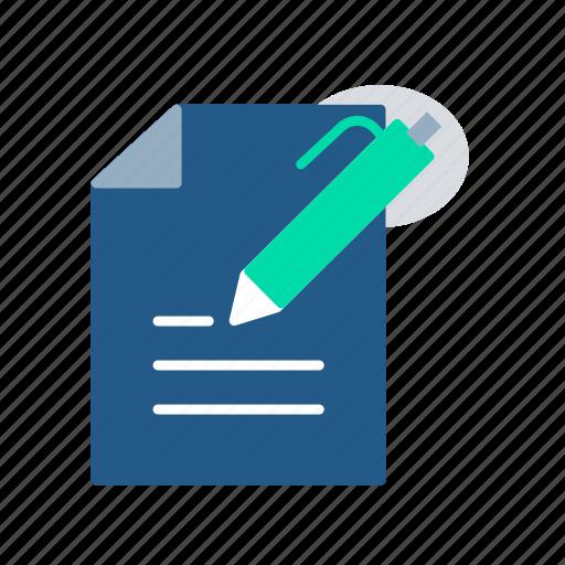 exam, notes, online exam, pen, test, write icon