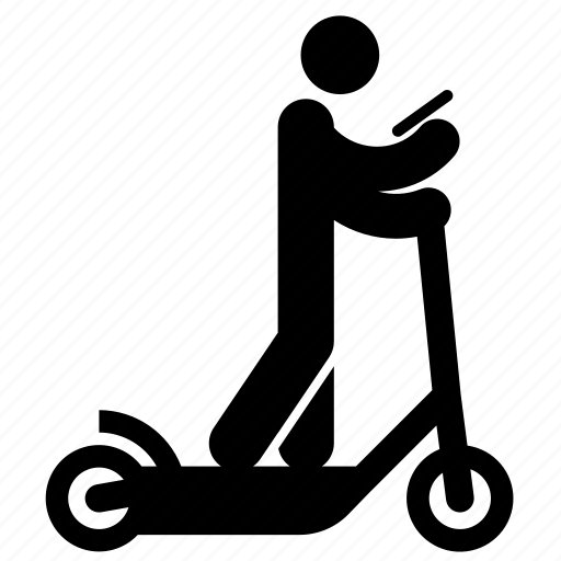 electric scooter, electric transport, person, riding, smartphone, texting, urban icon