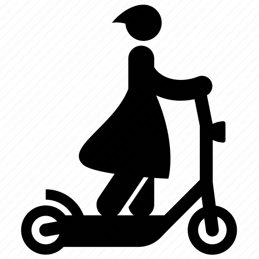electric scooter, electric transport, girl, riding, scooter, transport, woman icon
