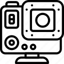 cam, camera, devices, go, go pro, outline icon