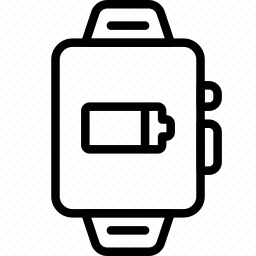 charge, devices, outline, smart, watch icon