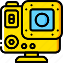 cam, devices, go, go pro, yellow icon