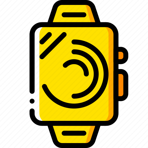 devices, smart, time, watch, yellow icon
