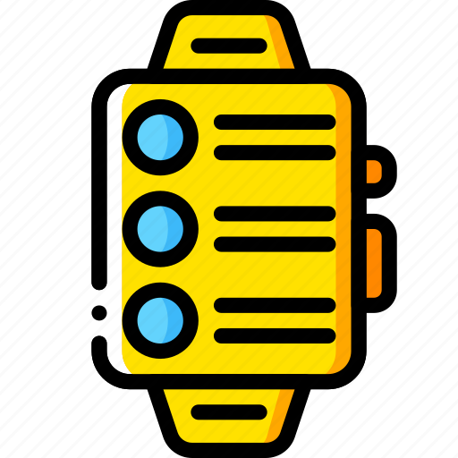 devices, messages, smart, watch, yellow icon