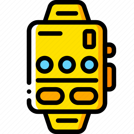 devices, mp3, smart, watch, yellow icon