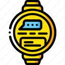 devices, message, smart, watch, yellow icon