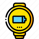 charge, devices, smart, watch, yellow icon