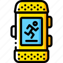 devices, fitness, run, tracker, watch, yellow icon