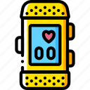 devices, fitness, heart, tracker, watch, yellow icon