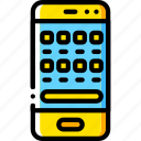devices, iphone, os, phone, smart, yellow icon