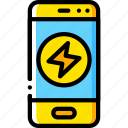 charge, devices, iphone, phone, smart, yellow icon