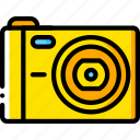 cam, camera, compact, devices, yellow icon