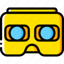 devices, headset, vr, yellow icon